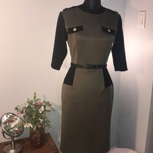 Army green and black fitted  midi dress